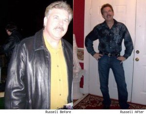 Great success story! Read before and after fitness transformation stories from women and men who hit weight loss goals and got THAT BODY with training and meal prep. Find inspiration, motivation, and workout tips   Russell Lost 50 Pounds Without a Gym