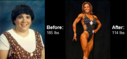 Suzanne managed to go from 185 lbs to 114 lbs and competing in figure and bodybuilding. Check it out!