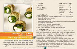 80 Calorie Snack Recipe:  Zucchini Rolls with Herbed Cheese