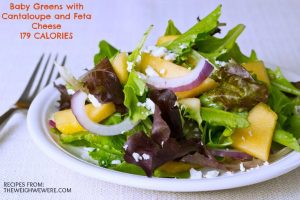 Baby Greens with Cantaloupe and Feta Cheese – 179 Calories