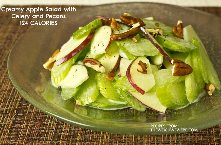 Great success story! Read before and after fitness transformation stories from women and men who hit weight loss goals and got THAT BODY with training and meal prep. Find inspiration, motivation, and workout tips | Creamy Apple Salad with Celery and Pecans   124 Calories