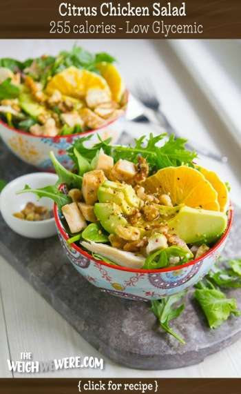 Great success story! Read before and after fitness transformation stories from women and men who hit weight loss goals and got THAT BODY with training and meal prep. Find inspiration, motivation, and workout tips | Low Glycemic Recipe Citrus Chicken Salad   255 Calories