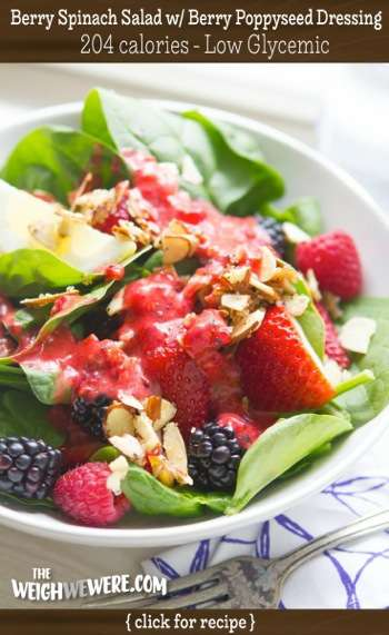 Great success story! Read before and after fitness transformation stories from women and men who hit weight loss goals and got THAT BODY with training and meal prep. Find inspiration, motivation, and workout tips | Low Glycemic Recipe Berry Spinach Salad with Raspberry Poppyseed Dressing   204 Calories