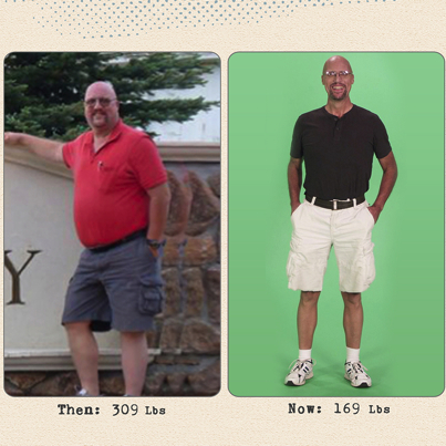 I lost 140 pounds! Read my weight loss success story and see my before and after weight loss pictures at the website The Weigh We Were. Hundreds of success stories, articles and photos of weight loss diet plans for men, tips for how to lose weight for men. Build muscle and lose belly fat with healthy male weight loss transformation pics for inspiration!