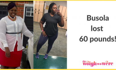 Read her story for inspiration! Black women before and after weight loss transformation. African American female fitness motivation workout photos and pictures. 30, 40, 50, 60, 100 pound weightloss Busola Lost 60 Pounds