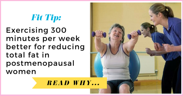 Exercising 300 minutes per week better for reducing total fat in postmenopausal women| via TheWeighWeWere.com