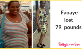 Read her story for inspiration! Black women before and after weight loss transformation. African American female fitness motivation workout photos and pictures. 30, 40, 50, 60, 100 pound weightloss Fanaye Lost 79 Pounds
