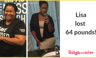 Read her story for inspiration! Black women before and after weight loss transformation. African American female fitness motivation workout photos and pictures. 30, 40, 50, 60, 100 pound weightloss Lisa Lost 64 Pounds