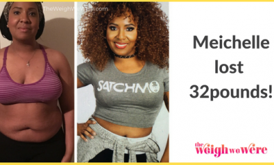 Read her story for inspiration! Black women before and after weight loss transformation. African American female fitness motivation workout photos and pictures. 30, 40, 50, 60, 100 pound weightloss Meichelle Lost 32 Pounds