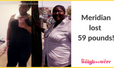 Read her story for inspiration! Black women before and after weight loss transformation. African American female fitness motivation workout photos and pictures. 30, 40, 50, 60, 100 pound weightloss Meridian Lost 59 Pounds