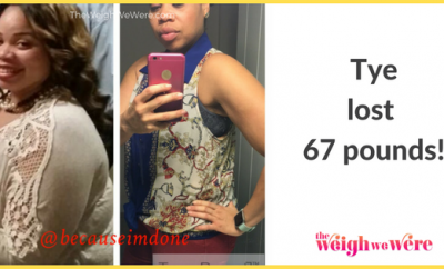 Read her story for inspiration! Black women before and after weight loss transformation. African American female fitness motivation workout photos and pictures. 30, 40, 50, 60, 100 pound weightloss Tye Lost 67 Pounds
