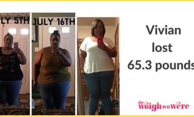 Read her story for inspiration! Black women before and after weight loss transformation. African American female fitness motivation workout photos and pictures. 30, 40, 50, 60, 100 pound weightloss Vivian Lost 65 Pounds